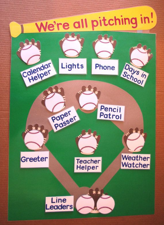 Classroom Job Ideas For Kindergarten : School classroom job or task chart baseball by