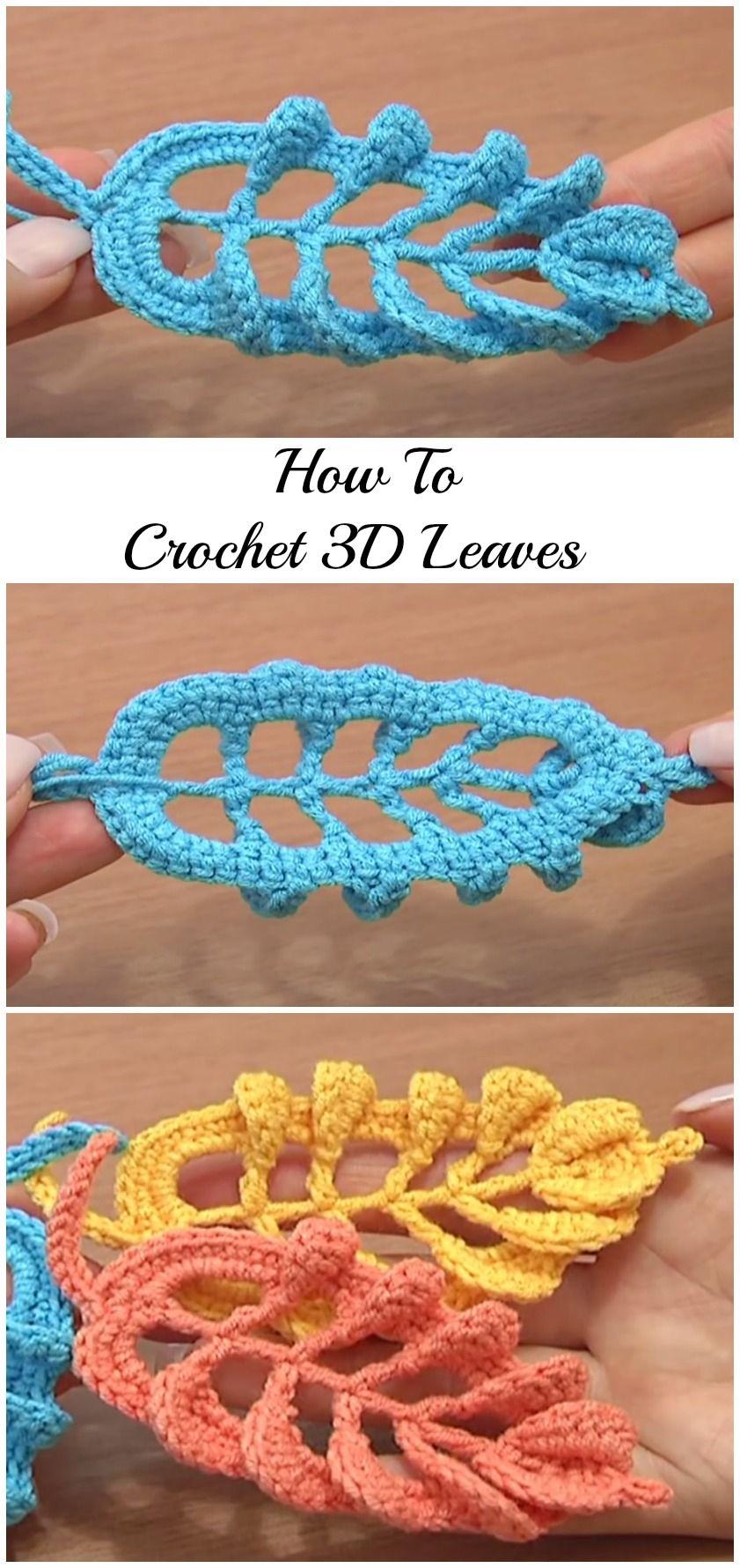 Crochet Leaf Stitches | Tejido, Puntadas y Ganchillo