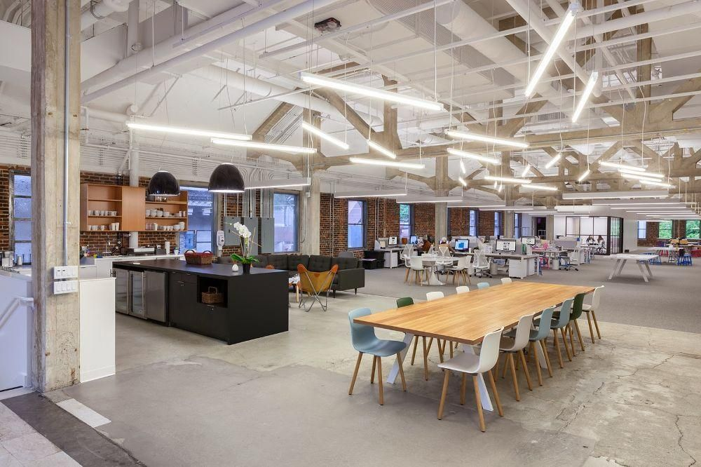 Open office layout custom lighting nasty gal office for Design an office space layout online