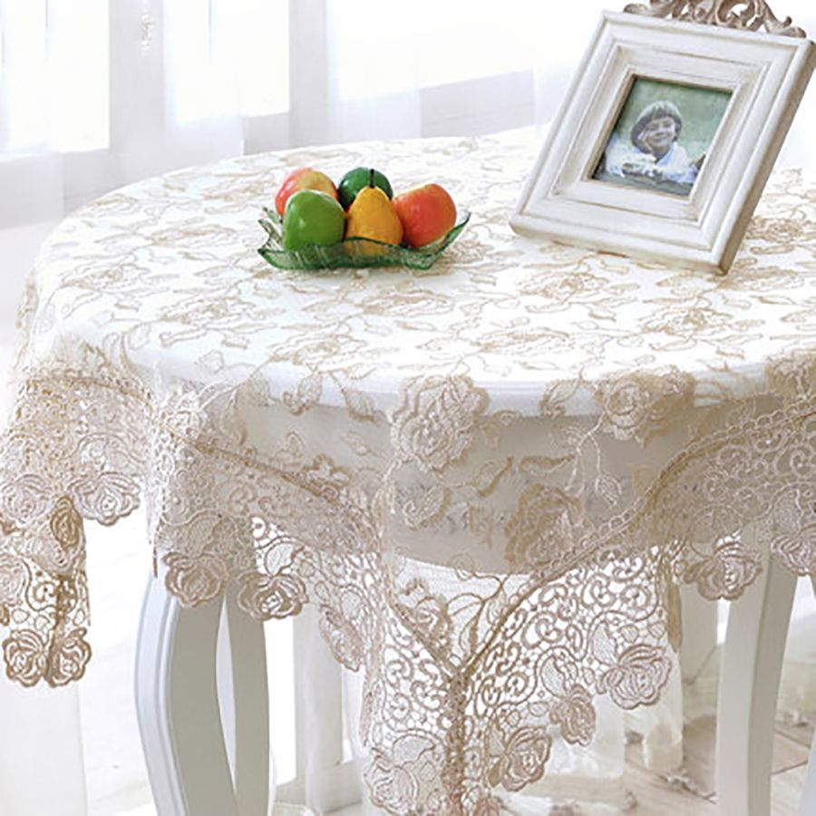 Table Cloth Mesa Round Tablecloth Dining Table Lace Manteles Embroidery  Modern Decoration Doilies Luxury Tablecloths DD0434
