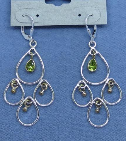 Genuine Peridot Big Chandelier Leverback Earrings - Sterling Silver & Brass - Two Tone - 171606