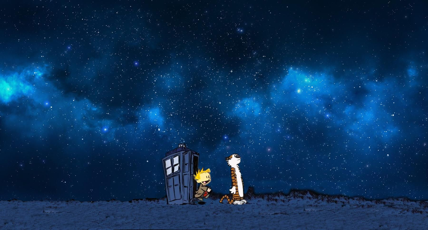 Calvin and Hobbes on Tardis Galaxy 2 iphone case