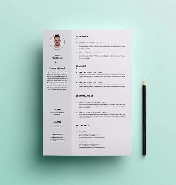 Simple Clean Resume / CV Template Design Free Download в