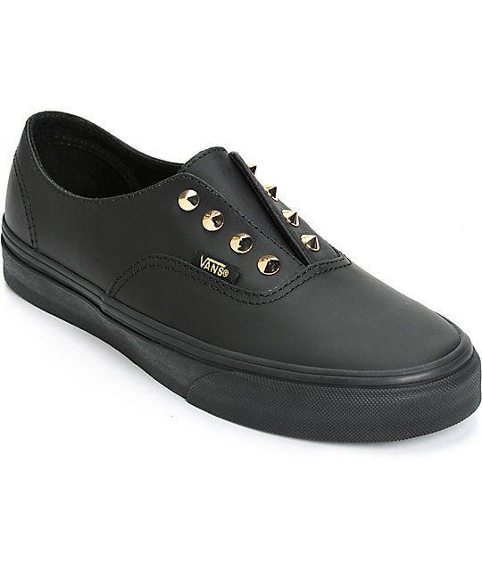 54cf2d36afaf04 Vans Authentic Gore Stud Black Leather Slip-On Shoes (Womens)