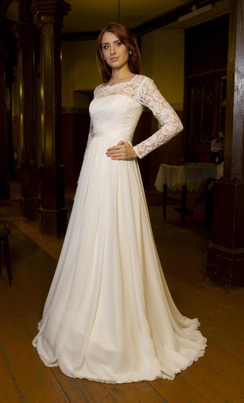 Bateau Neck Long Sleeve Chiffon Wedding Dress With VBack
