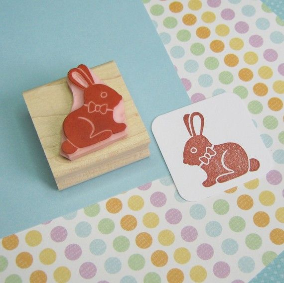 Chocolate Bunny Rabbit Stamp Rabbit Rubber Stamp