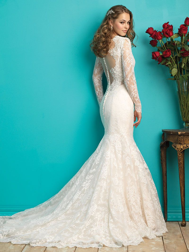 long sleeves applique lace mermaid wedding dress deep v neck ...