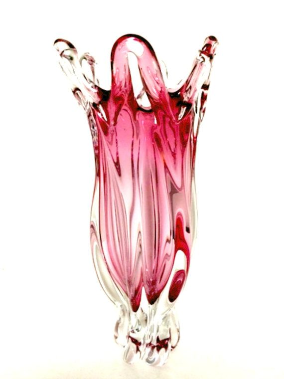 Vintage Murano Pink Cased Art Glass Vase Open Lace Ribbed 14 inches Tall