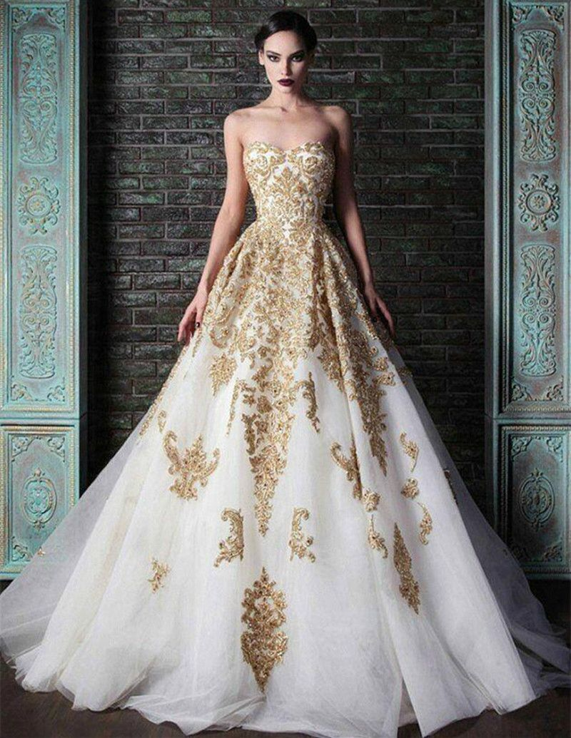 Find More Wedding Dresses Information About 2016 Vintage Design Gold Lace Sweetheart A Line
