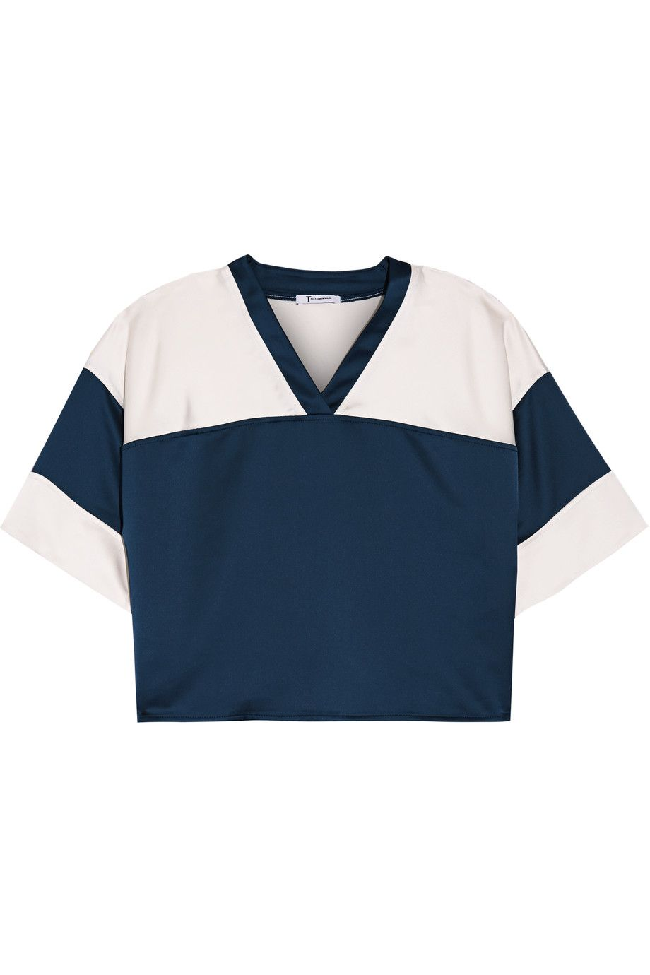 T BY ALEXANDER WANG Cropped Two-Tone Satin Top. #tbyalexanderwang #cloth #top