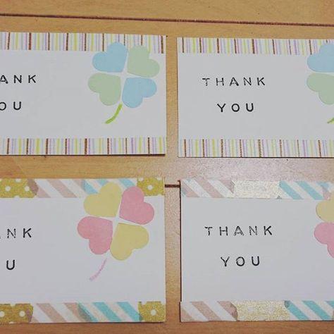 メッセージカード♡上下はマスキングテープを何種類か貼って縁取っています。THANK  YOUはスタンプです!ちょっとかすれてるスタンプ感がいいですね♩上が男性ゲスト、