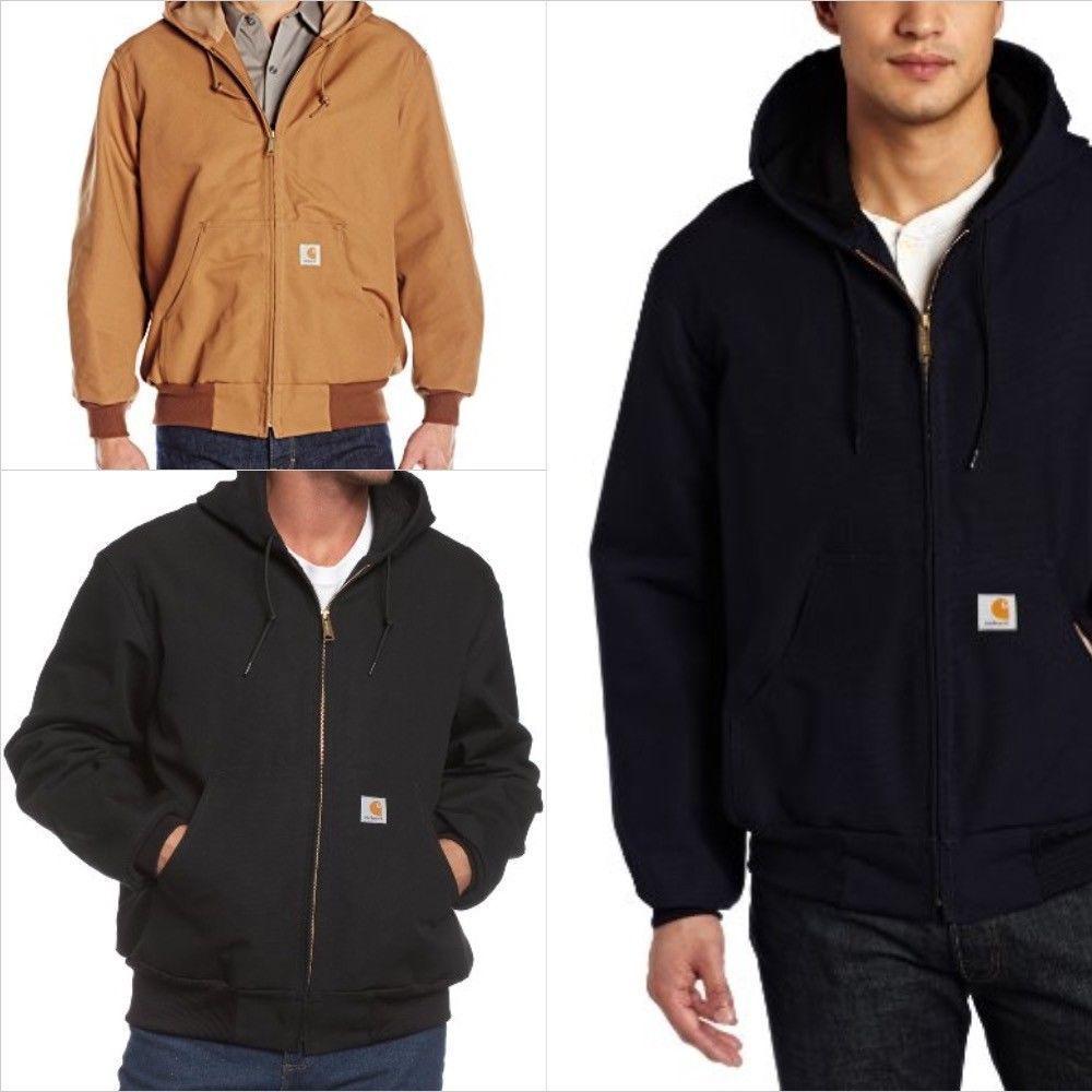 Men/'s Carhartt Thermal Lined Duck Active Jacket Coat Winter J131 FREE SHIP