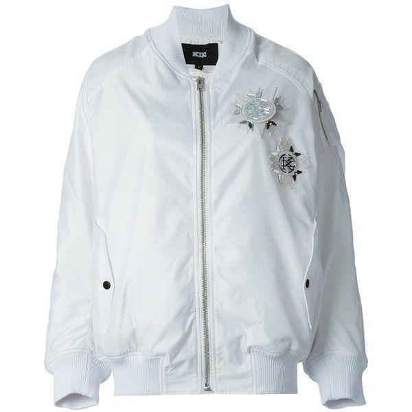 KTZ bomber jacket (5,750 MXN) ❤ liked on Polyvore featuring women's fashion, outerwear, jackets, coats, white, white jacket, blouson jacket, kokon to zai, bomber jacket and flight jacket