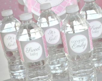 Girls Baby Shower Water Bottle Labels   Itu0027s A Girl Baby Shower Decorations    Pink And Gray   Set Of 10 By Sosweetpartyshop On Etsy