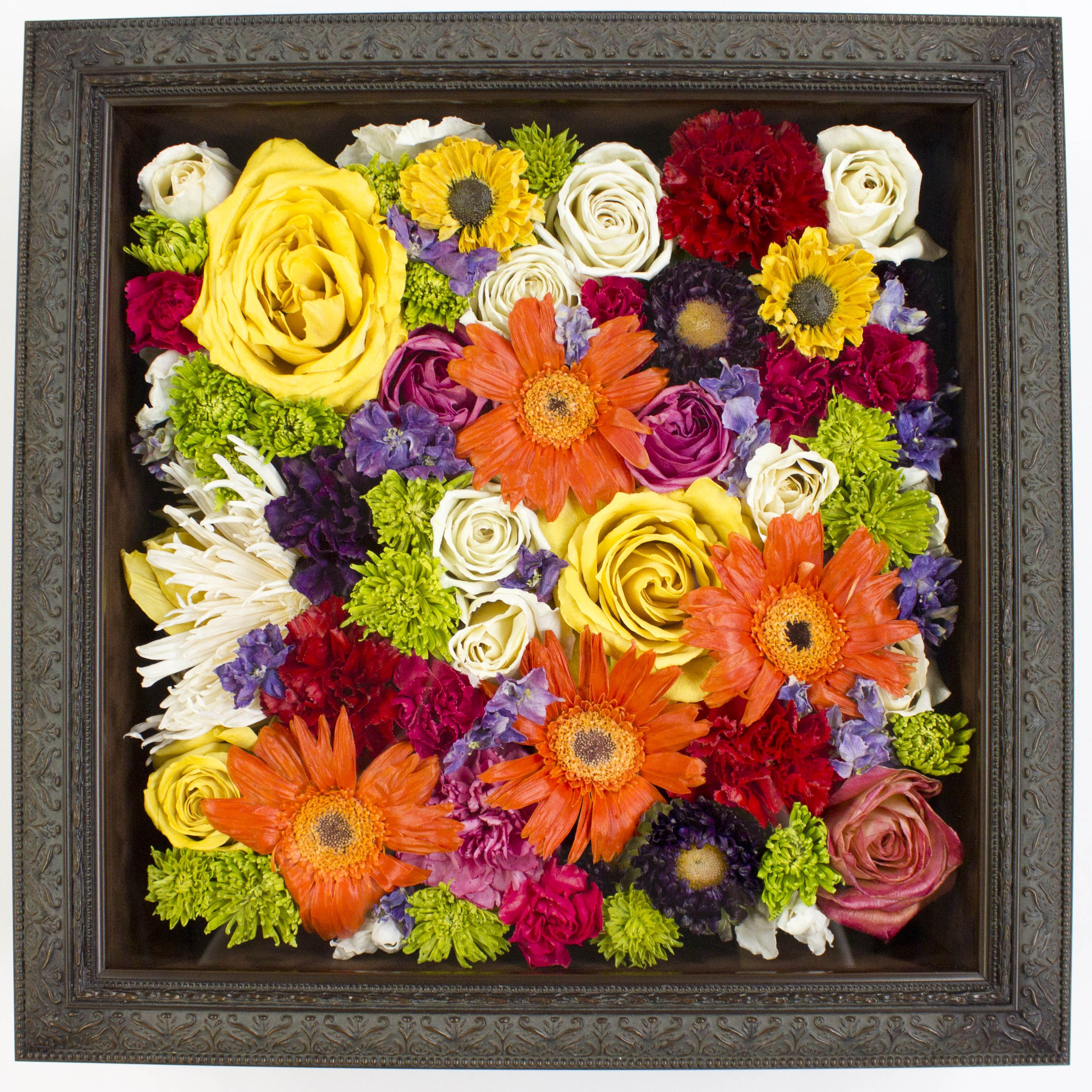 A simply stunning pave arrangement in a square shadowbox This