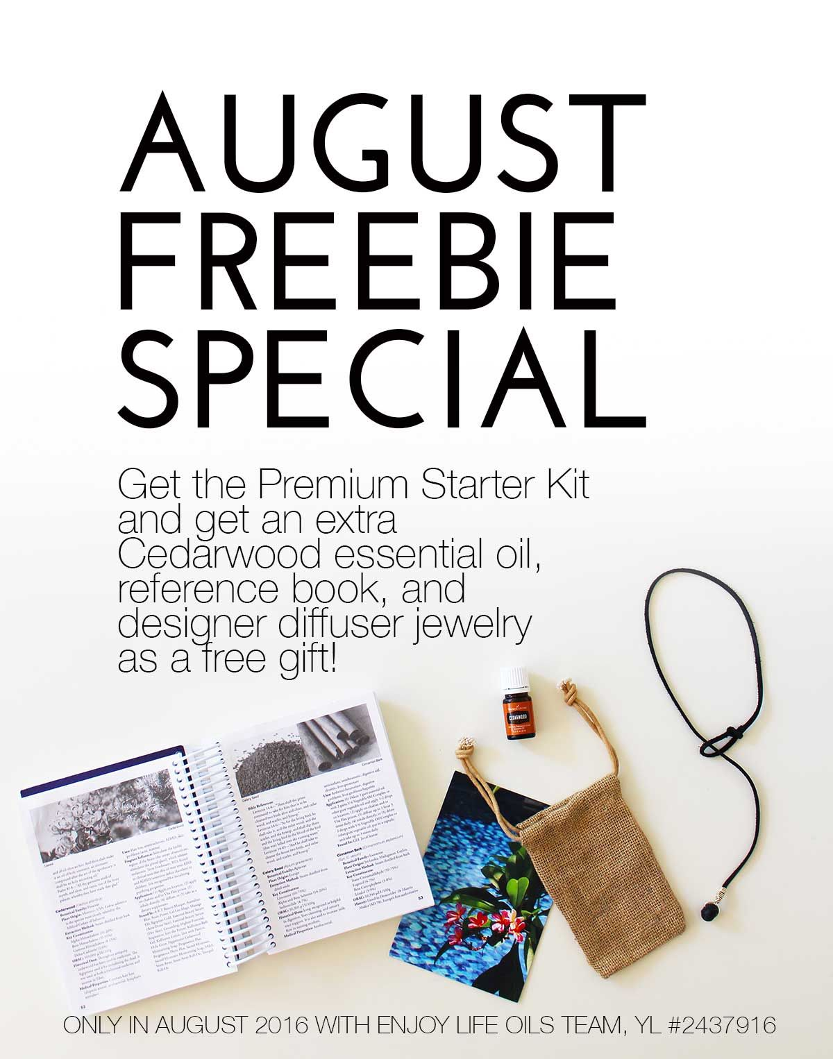 Free gifts when you join young living in august get free reference free gifts when you join young living in august get free reference book cedarwood essential oil and designer diffuser jewelry when you buy the premium negle Image collections