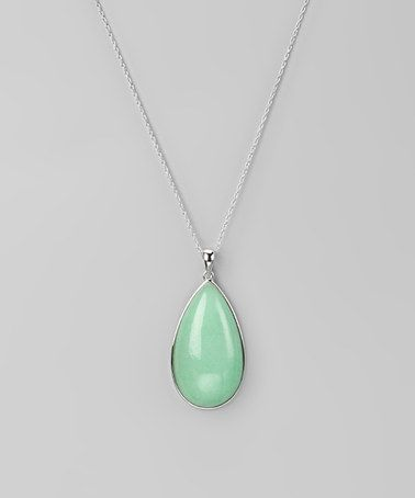 Gold Chain Turquoise Gray Teardrop Shape Stone Statement Pendant Necklace
