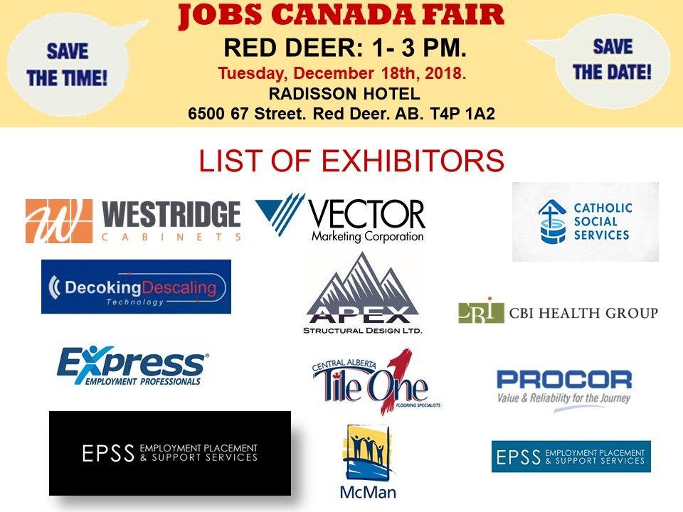 List Of Hiring Companies For Reddeer Job Fair December 18th 2018