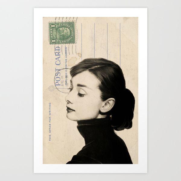 Audrey Hepburn Sketch on Vintage Postcard Art Print by Amy Hamilton | Society6