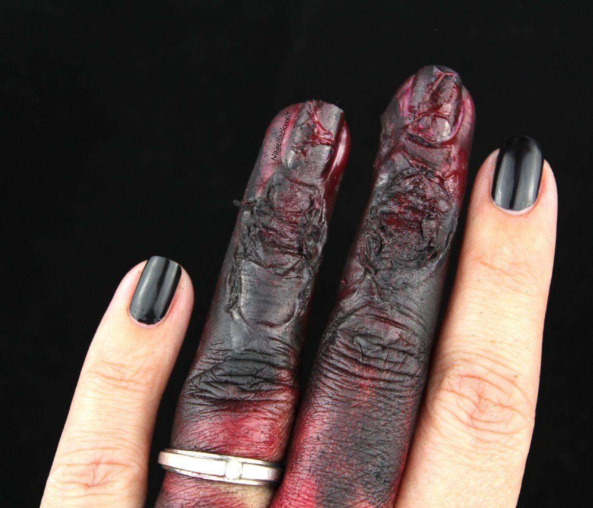 Nageldesign für Halloween - verkohlte Finger. Anleitung für diese ...