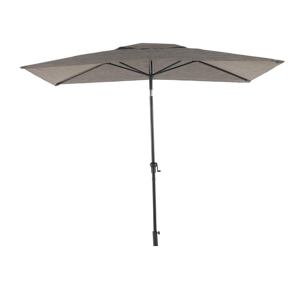 Elegant Hampton Bay Statesville 6 Ft. X 9 Ft. Rectangle Patio Market Umbrella In  Heather