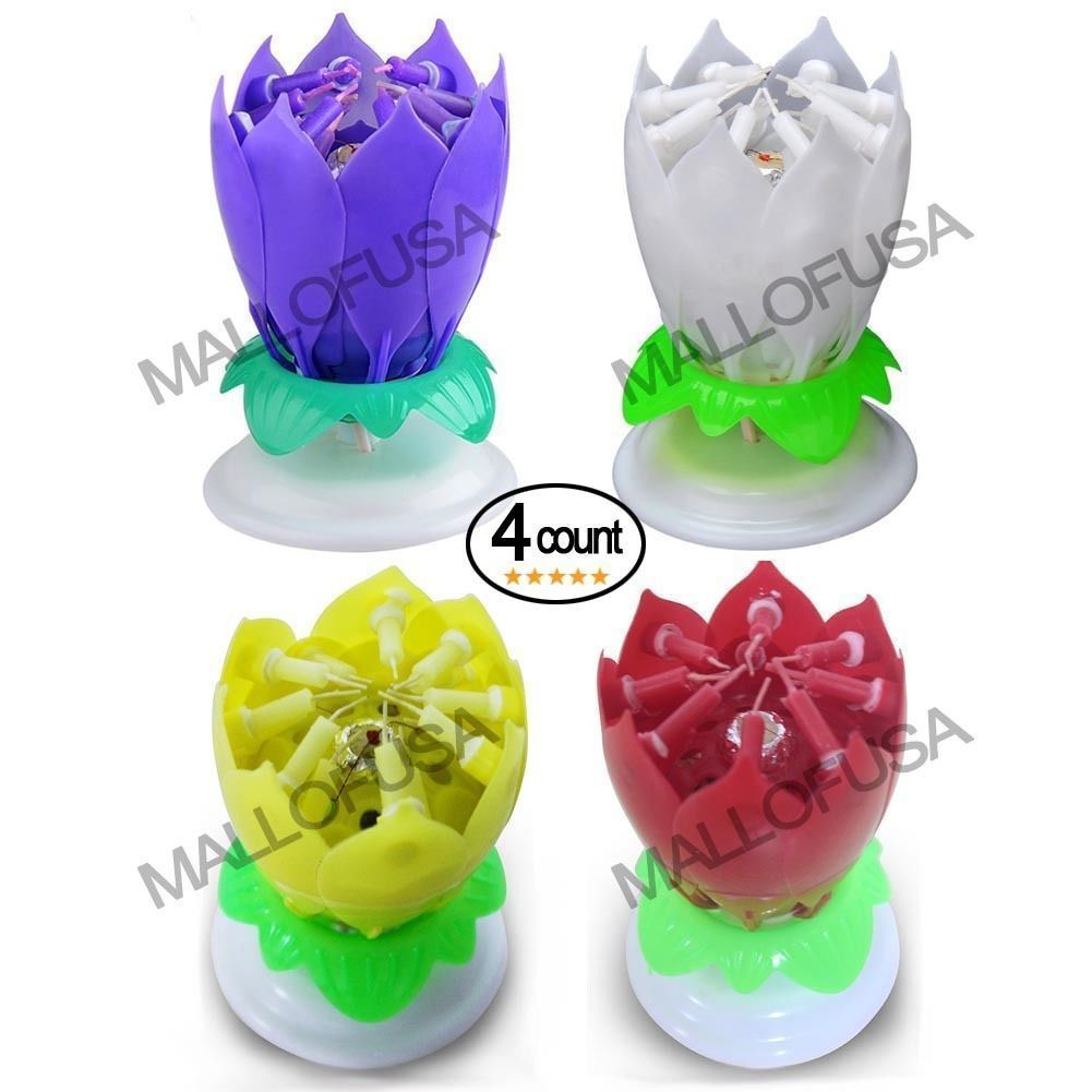 4Pcs Amazing Lotus Happy Birthday Party Spin Music Candle With 14 Small Candles