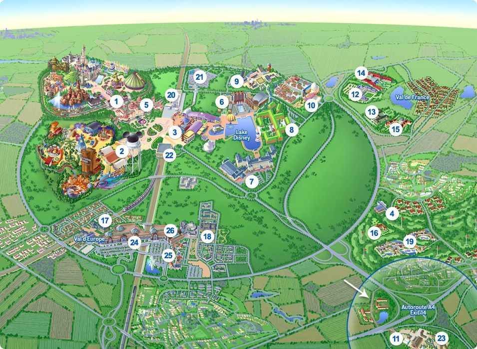 Disneyland Paris Map Magnetic Italy Attractions Pinterest - Paris map 2016