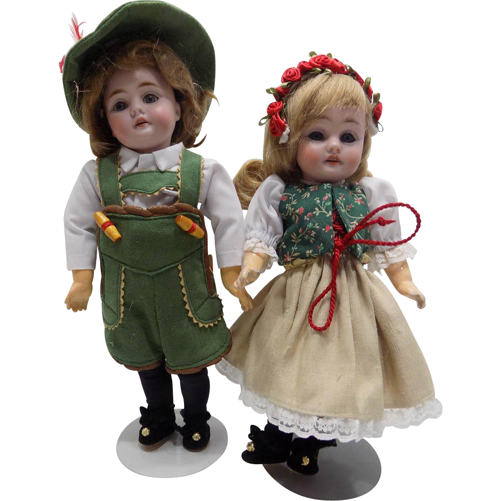 Antique German Pair Kestner 143 Character Dolls Hansel and Gretel Dressed Doll Size 0 and Size 1 CUTE