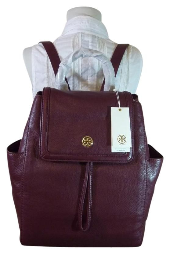 e27983b791f Tory Burch Deep Berry Leather Landon Flap Backpack. Get one of the hottest  styles of the season! The Tory Burch Deep Berry Leather Landon Flap Backpack  is a ...