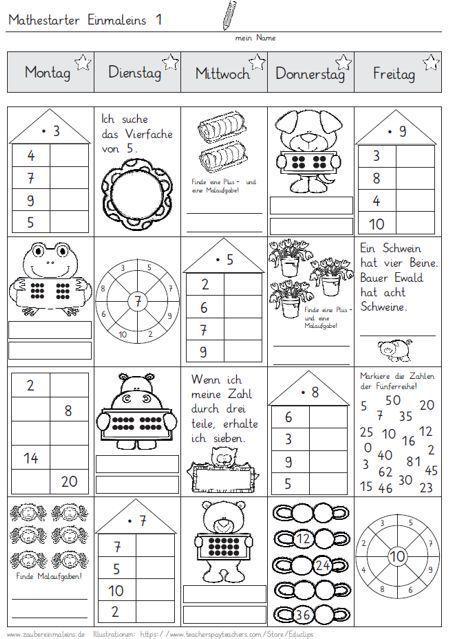 mathestarter 1x1 woche 1 und 2 zaubereinmaleins designblog schule pinterest mathe. Black Bedroom Furniture Sets. Home Design Ideas