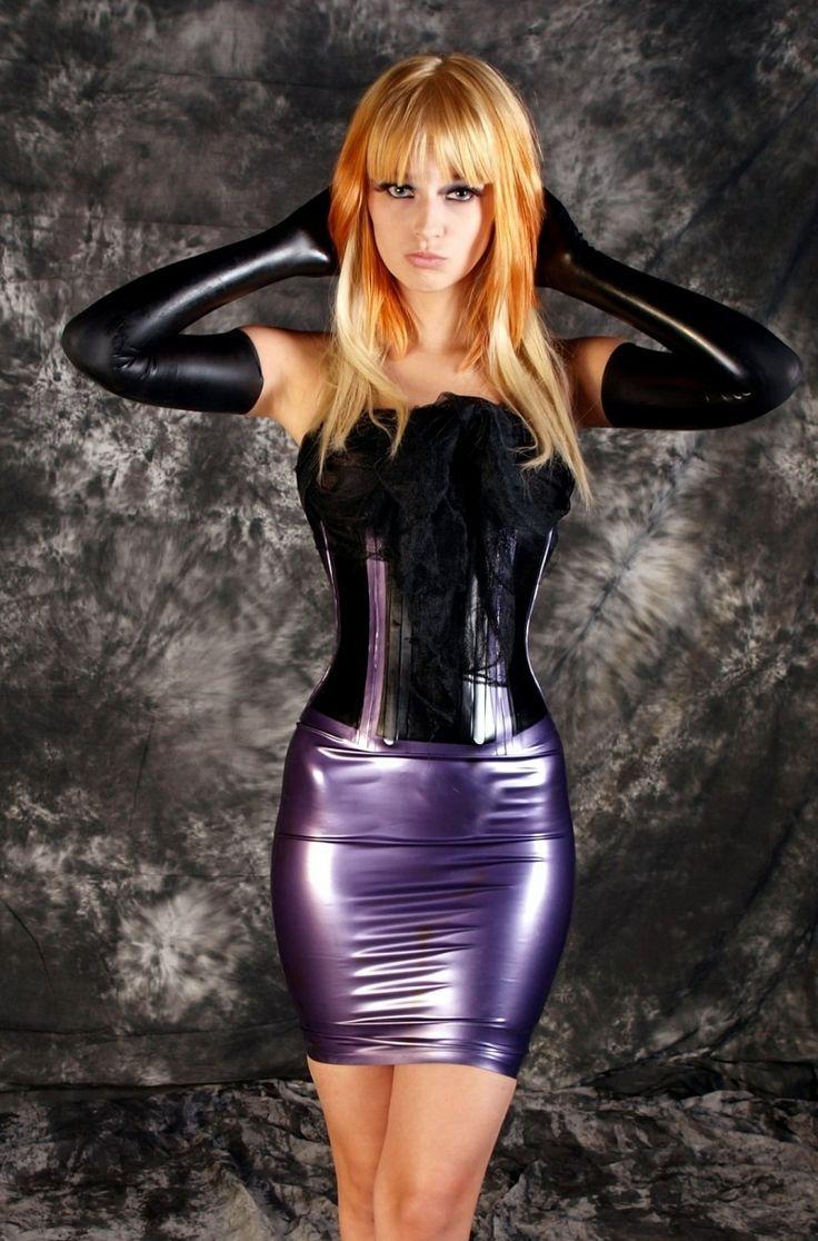 Tight purple latex pencil skirt black latex corset and black latex
