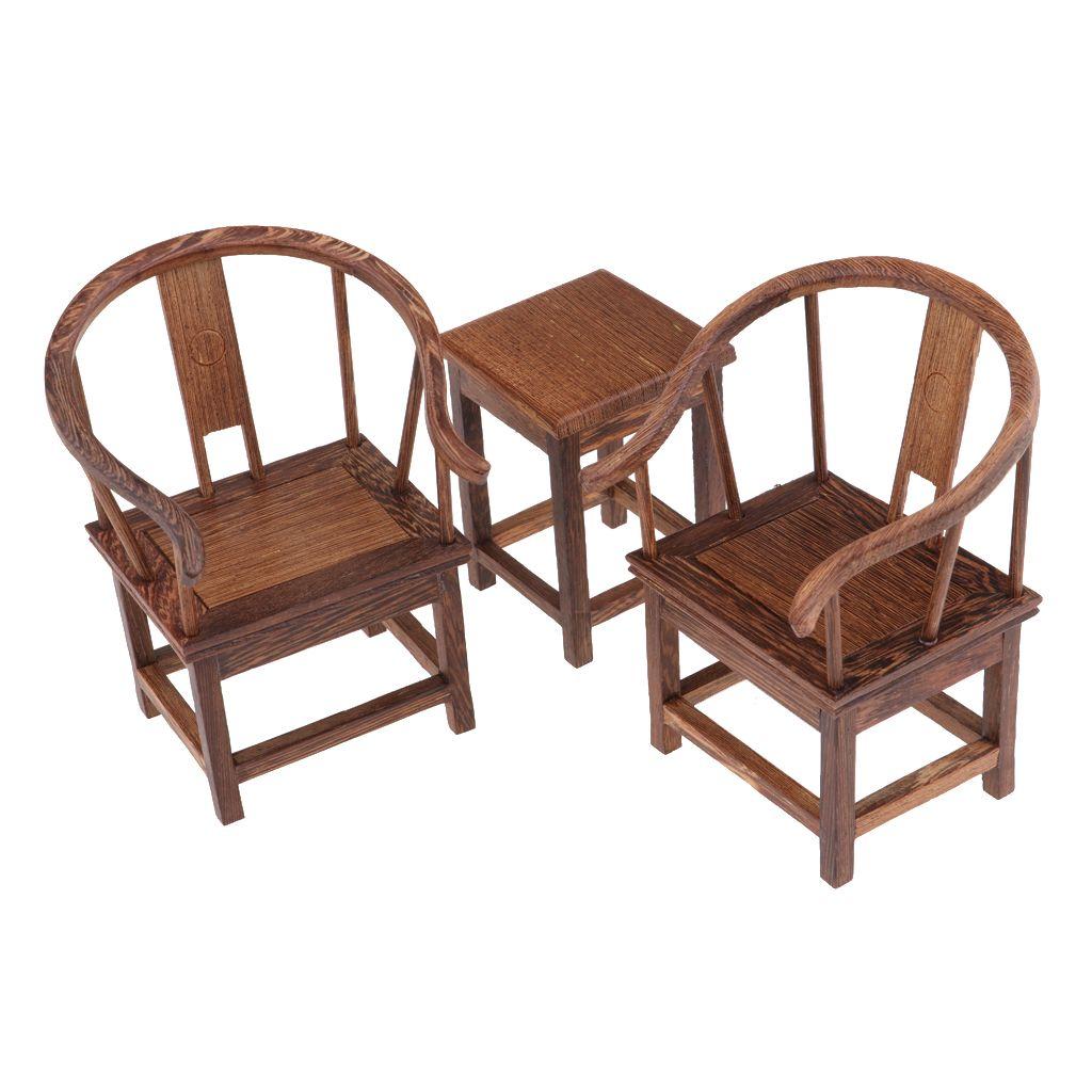 1//6 Dollhouse End Tea Coffee Table Chair Miniature Furniture Model Accessory