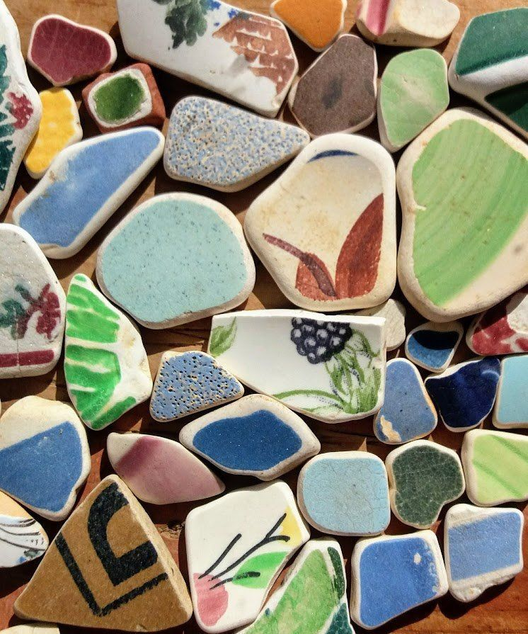 painters supplies mini white beach pottery Scottish beach finds surf tumbled pottery jewelry supplies White beach pebbles sea pottery