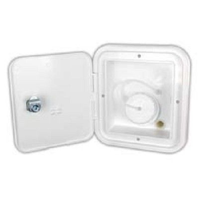 """RV Gravity Water Hatch, Polar White (OD 6 1/2""""H x 6 1/2"""" W). Fade and impact resistant plastic with key locks. Cut-out: 4-3/4""""H x 4-1/4""""W"""" D. O.D. is 6-1/2"""" x 6""""W. 1/2"""" O.D. air vent. Priced each. Manufactured by JR Products. Your Price: $28.75"""