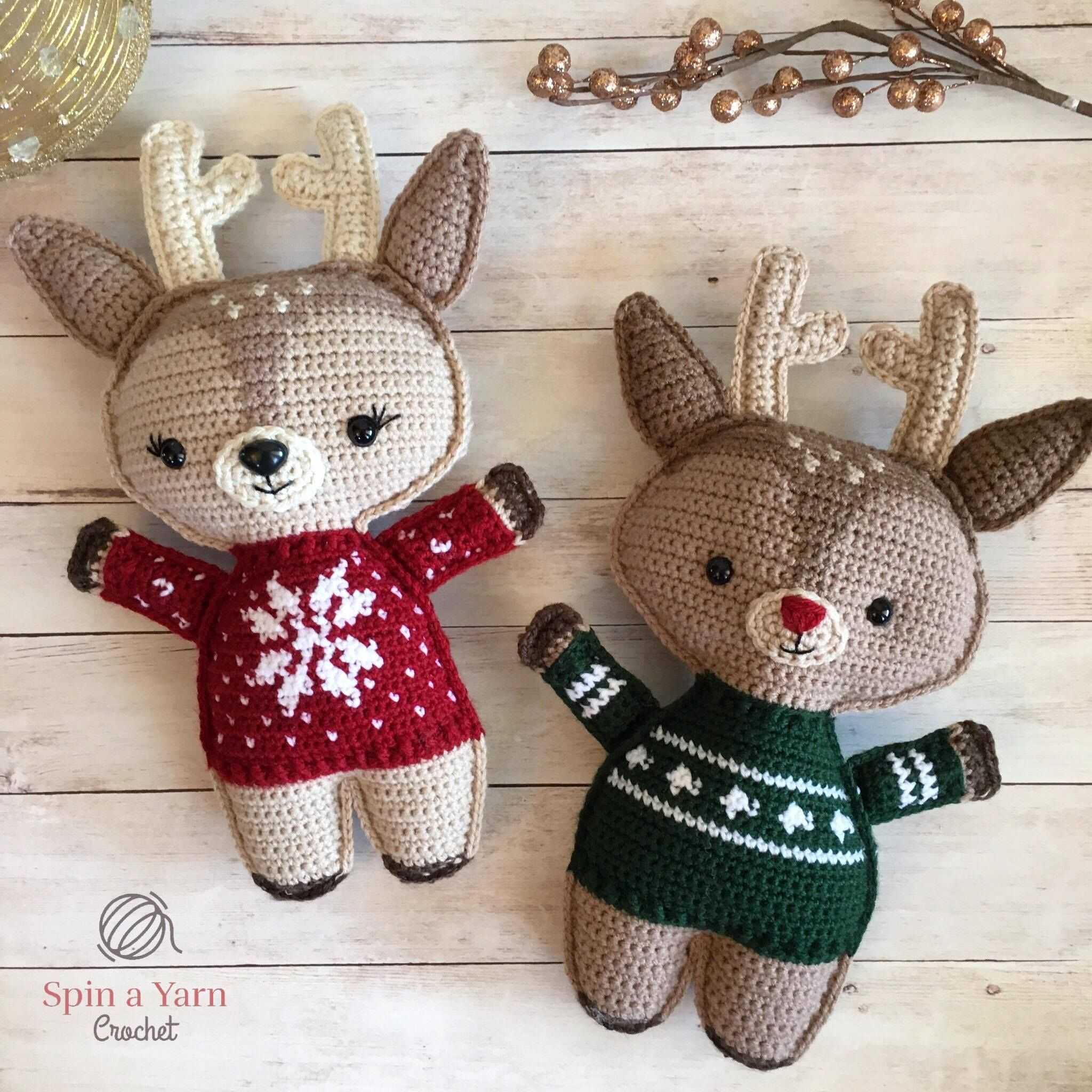 Holiday Deer Free Crochet Pattern (Part 2 | Free crochet, Crochet ...