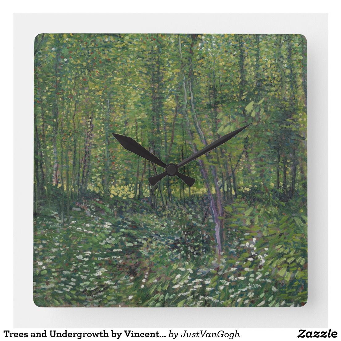 Trees And Undergrowth By Vincent Van Gogh Square Wall Clock