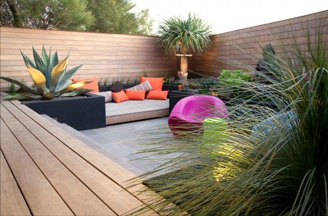 zen garten terrasse Möbel knallige farben urban exotic landschaftsarchitektur