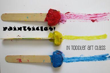 http://librarymakers.blogspot.com/2013/08/toddler-art-class-paintsicles.html