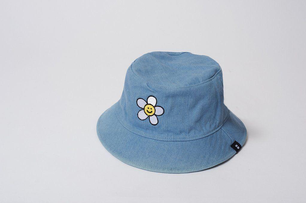 33cd990c4c55e2 Lazy Oaf Denim Daisy Bucket Hat. Reversible denim bucket hat. Metal  eyelets. Custom