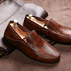 men shoes luxury brand loafers genuine leather driving