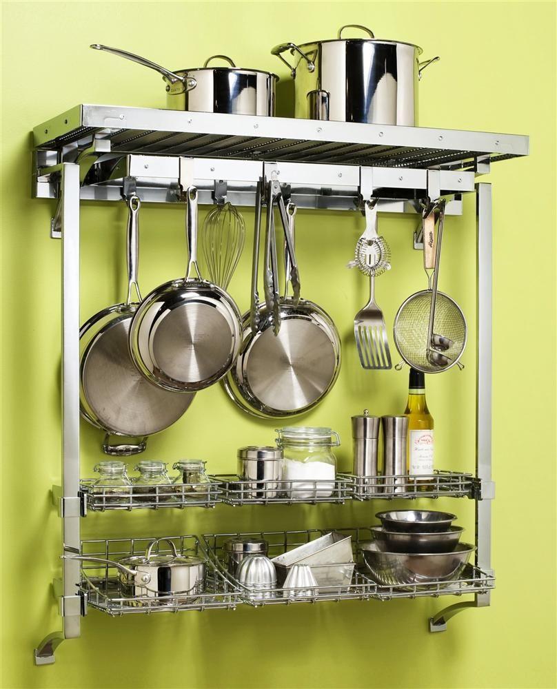 Deluxe+Wall+Pot+Rack+w+Basket+Extension | Kitchen | Pinterest | Pot ...