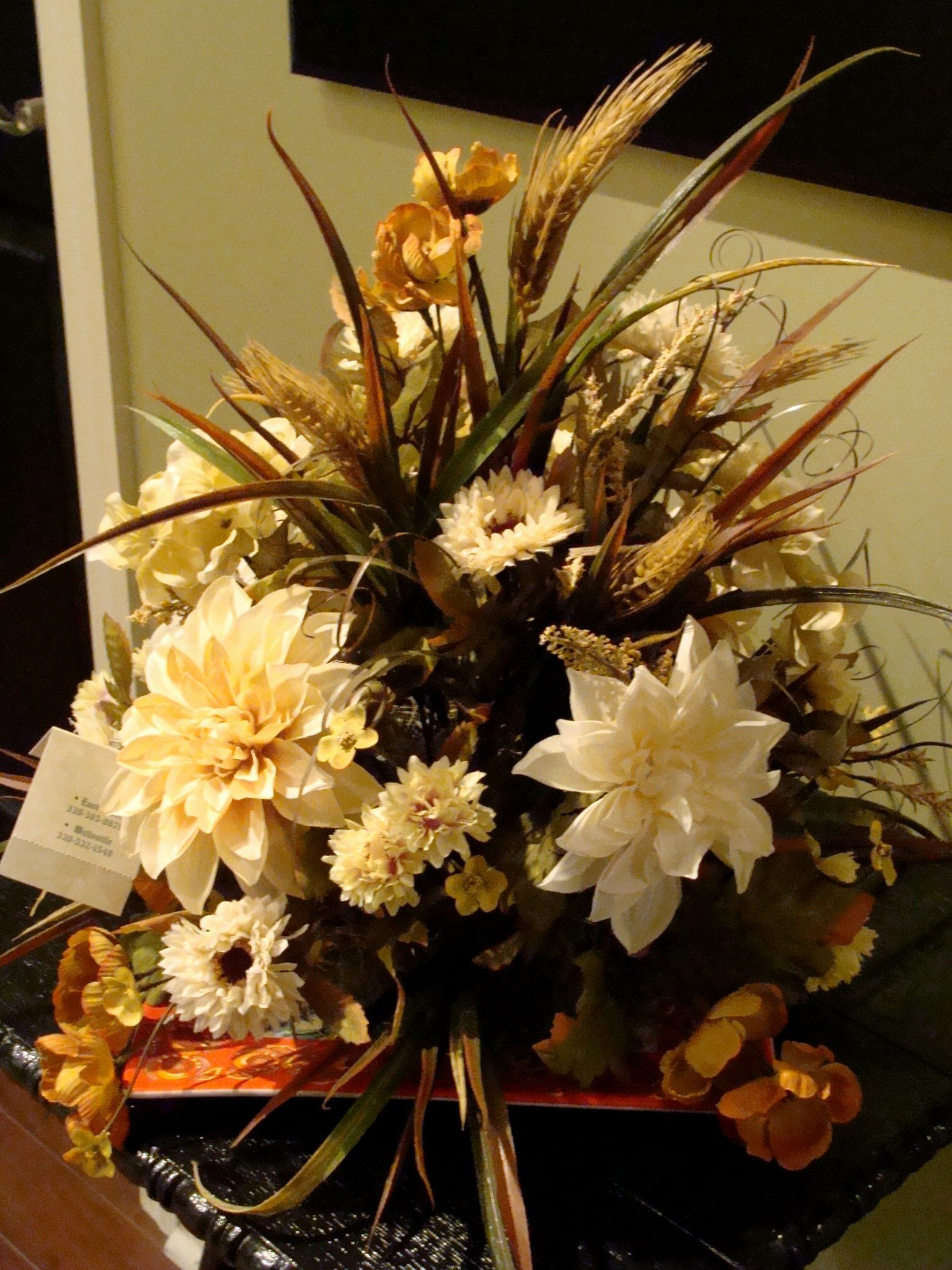 Silk Floral Arrangement For Fall With Wheat And Cream Silk Flowers