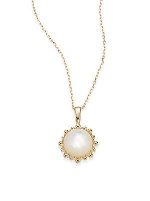 Anzie Dew Drop Mother-of-Pearl & 14K Yellow Gold Necklace - Gold - Siz