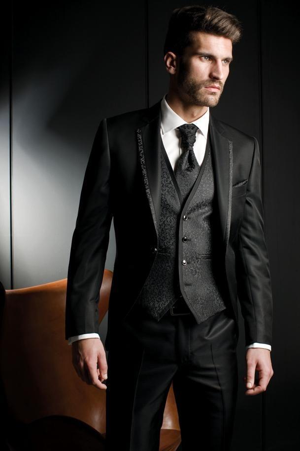 810843a5b4c8 Cheap 2016 Nueva Llegada Del Novio Esmoquin Negro Padrinos de Boda Muesca  Solapa Cena de los Trajes del Mejor Hombre Novio (Jacket + Pants + Tie +  Vest) ...