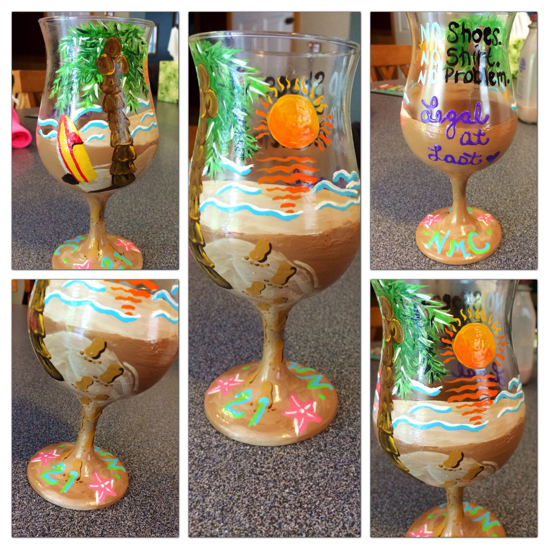 21st birthday wine glass beach theme birthday wine glass