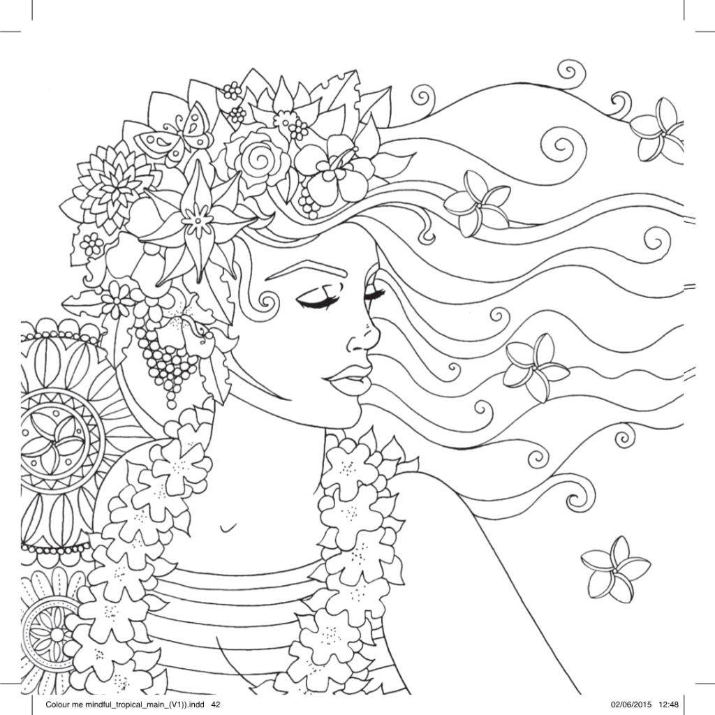 Hawaiian Girl Free Pattern Download Colorful Drawings Coloring