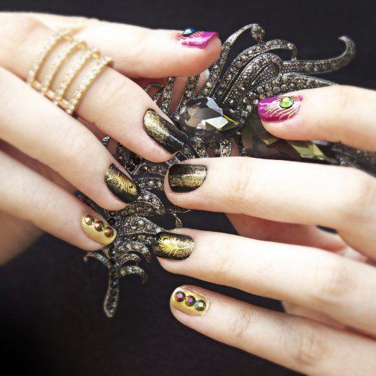 Birds of a Feather Manicure - An elegant and sophisticated manicure with gold decals and rhinestones!