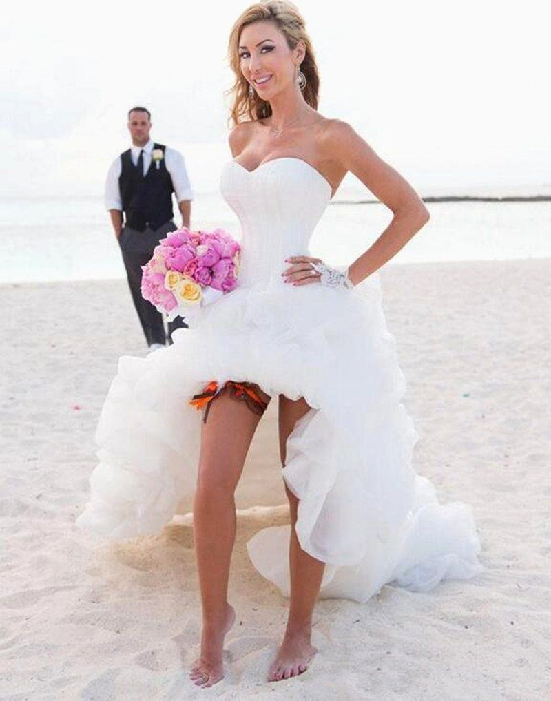 Discount 2019 Summer Holiday Convertible Short Beach Boho Party Wedding Dresses Two Pieces Detachable Overskirt Cheap Lace Wedding Gown Simple Classic Wedding D Lace Sweetheart Wedding Dress Short Wedding Dress Beach