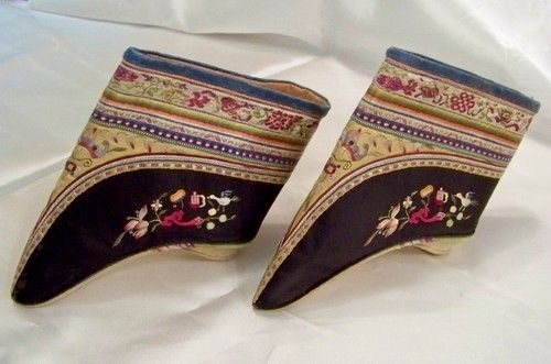 Antique Chinese Embroidered Lotus Shoes