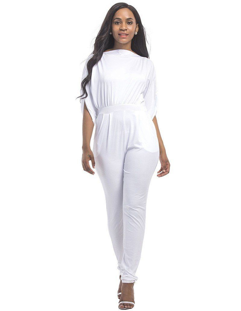 d7f984d52fdf Boat Neck Batwing Split Sleeves Bodycon Casual Solid Color Jumpsuit ...